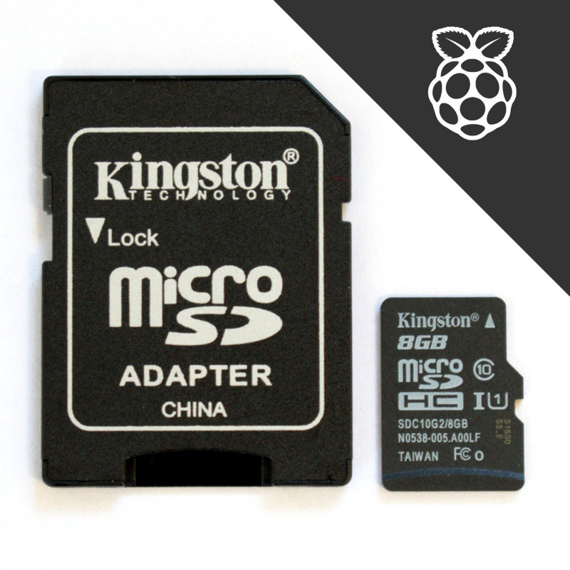 Předinstalovaná karta Kingston 8GB microSDHC UHS-I U1 C10 s SD adaptérem