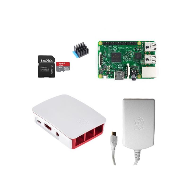 Výhodná sada Raspberry Pi 3, 16GB karta, chladič, 2.5A zdroj, oficiální, bílá