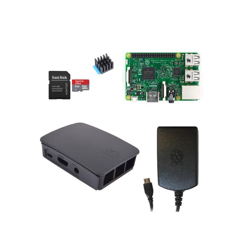 Výhodná sada Raspberry Pi 3, 8GB karta, chladič, 2.5A zdroj, oficiální, černá