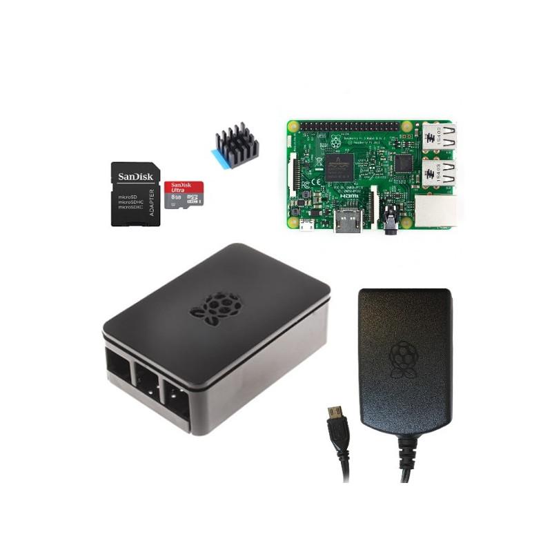 Výhodná sada Raspberry Pi 3, 16GB karta, chladič, 2.5A zdroj, Onenine, černá
