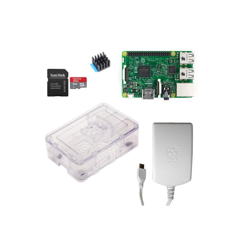 Výhodná sada Raspberry Pi 3, 16GB karta, chladič, 2.5A zdroj, Onenine, průhledná