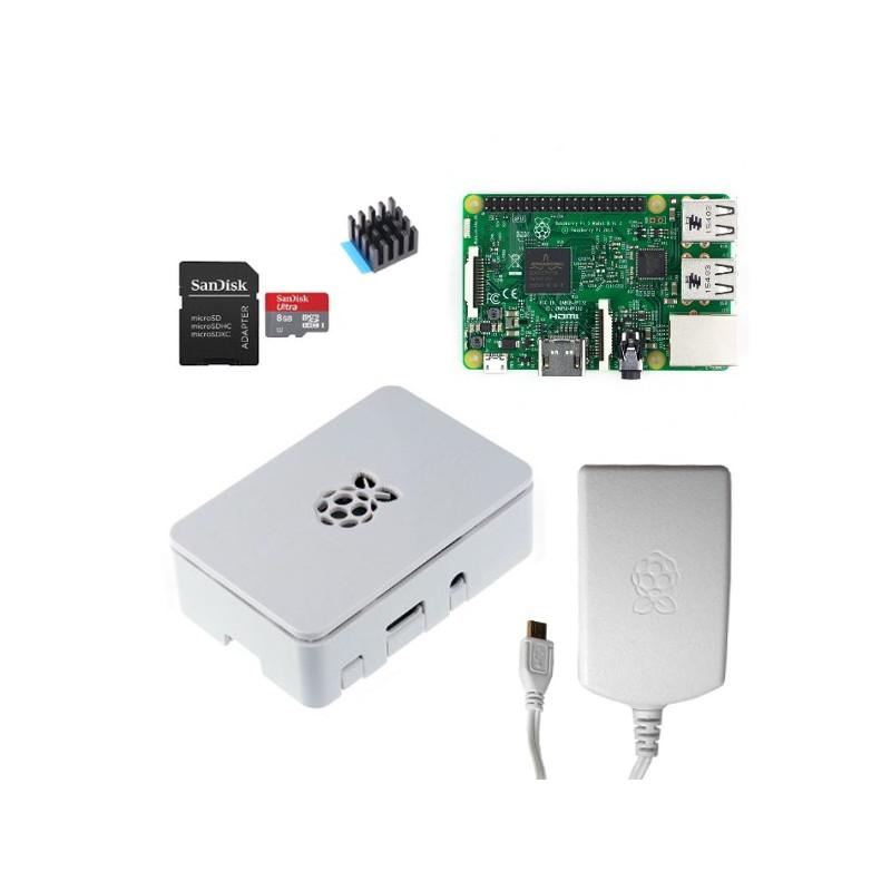 Výhodná sada Raspberry Pi 3, 16GB karta, chladič, 2.5A zdroj, Onenine, bílá
