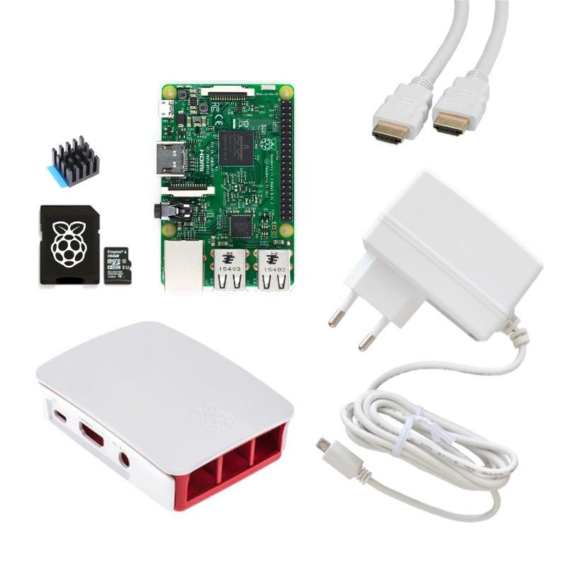 Extra výhodná sada Raspberry Pi 3, 16GB karta, chladič, 3A zdroj, HDMI kabel, oficiální, bílá