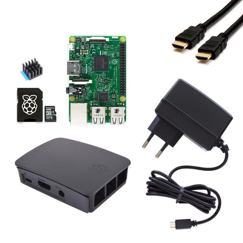 Extra výhodná sada Raspberry Pi 3, 16GB karta, chladič, 3A zdroj, HDMI kabel, oficiální, černá