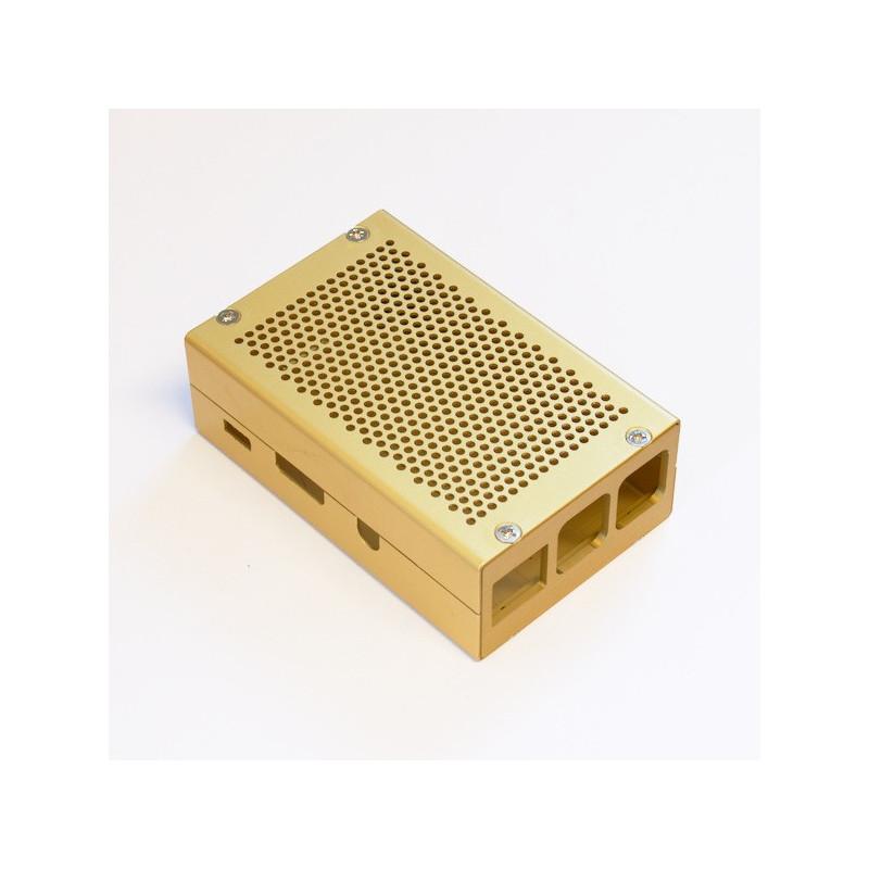 Frézovaná hliníková krabička, zlatá