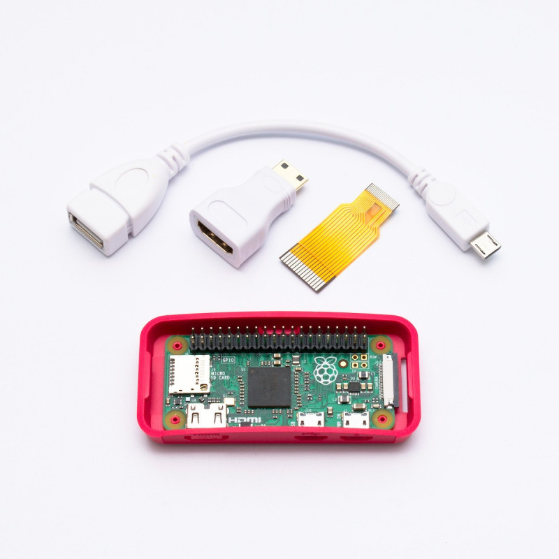 Osazené Raspberry Pi Zero + adaptéry + oficiální krabička