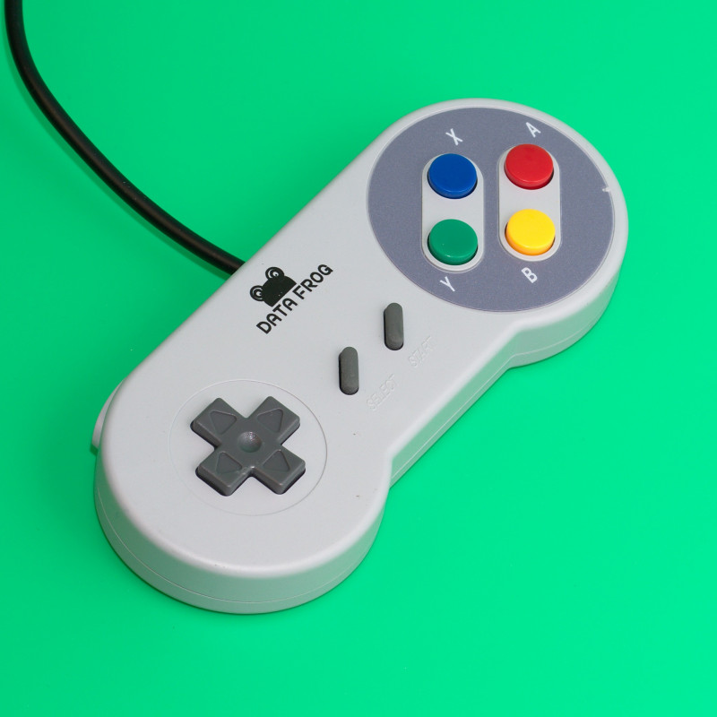 Retro USB SNES Gamepad, šedá