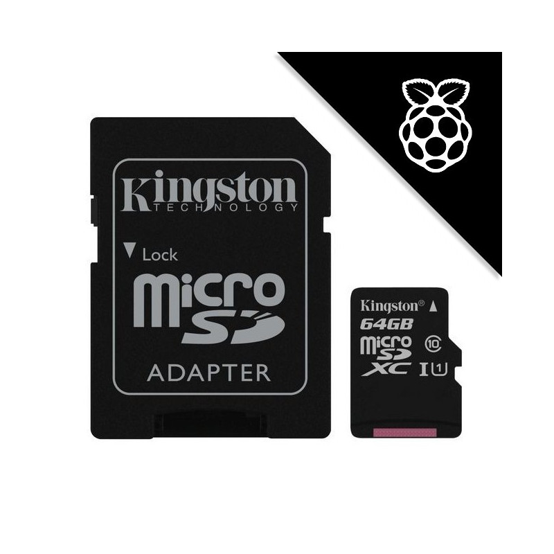 NOOBS + Kingston 64GB microSDXC UHS-I U1 SDC10G2/64GB + SD adaptér