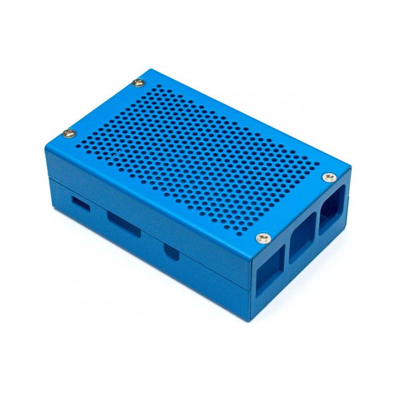 Frézovaná hliníková krabička, modrá