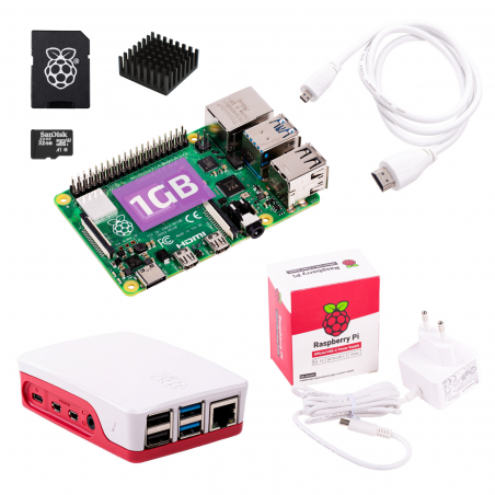 Oficiální Raspberry Pi 4B/1GB sada, bílá
