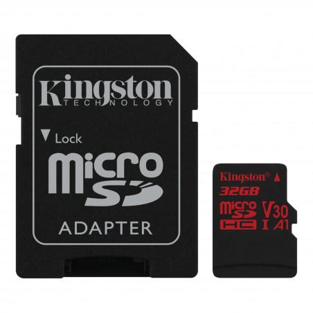 Kingston 32GB microSDHC Canvas React 100R/70W U3 UHS-I V30 A1 karta + ADP
