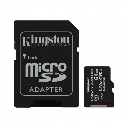 Kingston 64GB micSDXC Canvas Select Plus 100R A1 C10 karta + ADP