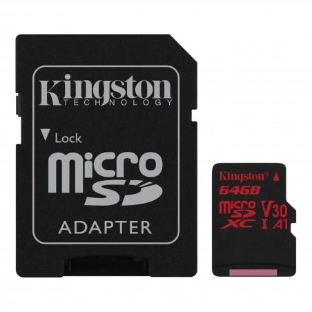 Kingston 64GB microSDXC Canvas React 100R/80W U3 UHS-I V30 A1 karta + ADP