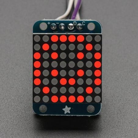 """Mini 0,7"""" 8x8 LED matice s I2C, červená"""