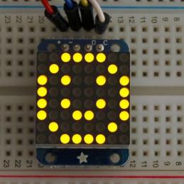"""Mini 0,7"""" 8x8 LED matice s I2C, žlutá"""