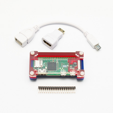 Raspberry Pi Zero W + adaptéry + PiBow krabička