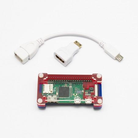 Osazené Raspberry Pi Zero W + adaptéry + PiBow krabička