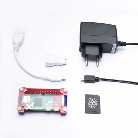 Osazené Raspberry Pi Zero W + adaptéry + PiBow krabička + karta a zdroj
