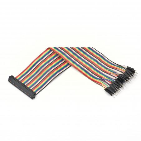 40žilový GPIO plochý kabel, duhový, female - jumper male