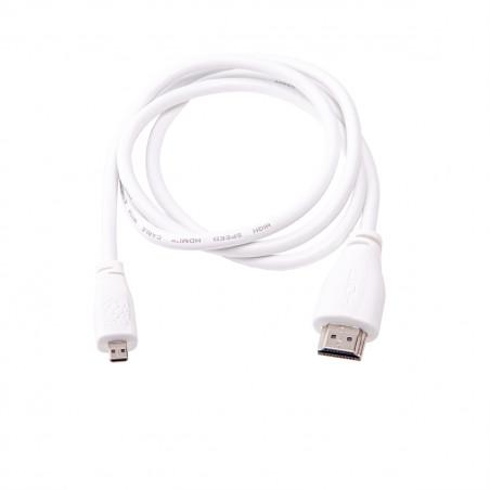Raspberry Pi 1m microHDMI kabel - bílý