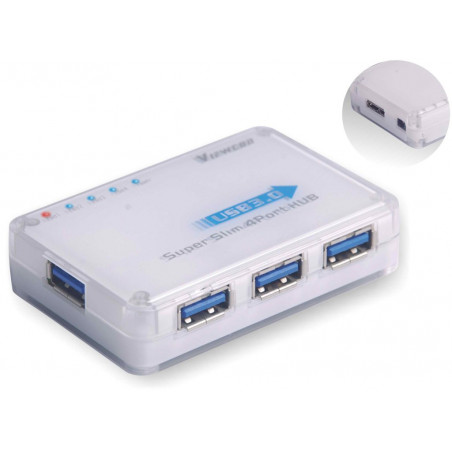 PremiumCord USB 4portový 3.0 miniaturní superspeed HUB s napájecím zdrojem