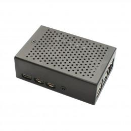 Hliníková krabička pro RPi 4B s aktivním větrákem, černá