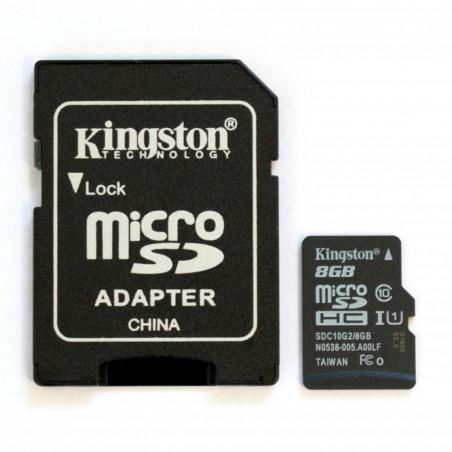 Použitá Karta Kingston 8GB microSDHC UHS-I U1 C10 s SD adaptérem