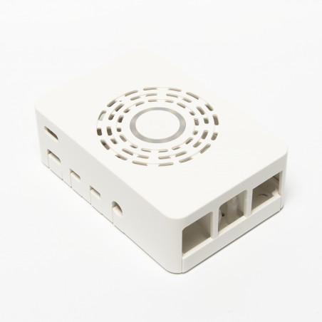 Multicomp plastová krabička s vypínacím tlačítkem pro Raspberry Pi 4 B, bílá