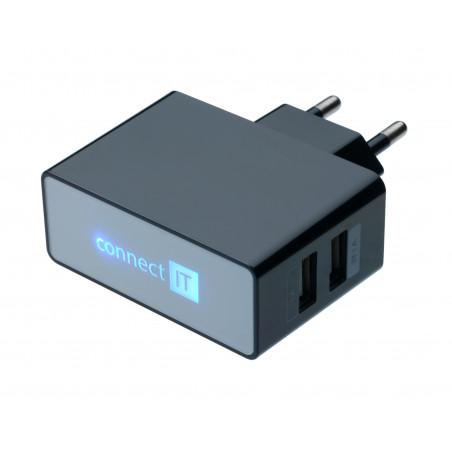 Connect IT 2x USB 5V⎓2,1A/1A napájecí zdroj, EU, černý