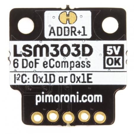 Pimoroni LSM303D 6DoF pohybový senzor, tříosý akcelerometr, I2C, breakout modul